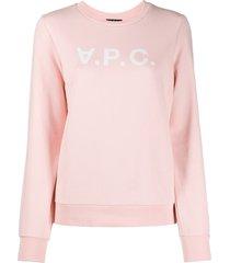 a.p.c. logo print sweatshirt - pink