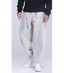 yoins basics hombres casual anudado cintura alta pantalones