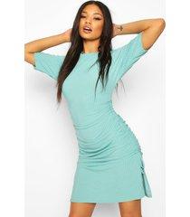 rib adjustable length oversized t-shirt dress, turquoise