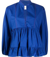 la doublej quintana tiered poplin top - blue