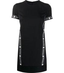 dsquared2 logo sports virgin wool blend t-shirt dress - black