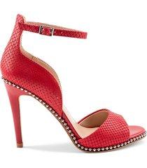 bcbgeneration women's jessika textured leather dress sandals - lipstick - size 7.5