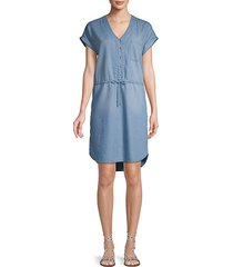 dolman-sleeve chambray button-front dress