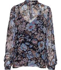 mertrice blouse lange mouwen blauw baum und pferdgarten