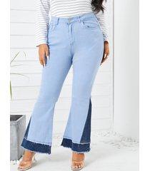 denim con bolsillos laterales de talla grande pantalones
