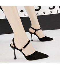 mujer sandalias zapatos de tacon fashion-cool-negro