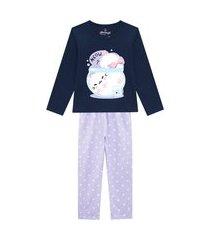 pijama juvenil abrange gato dentro da tigela azul marinho e lilás abrange casual azul marinho