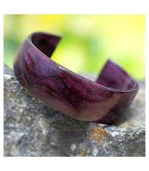 leather cuff bracelet, 'dasba in purple' (ghana)