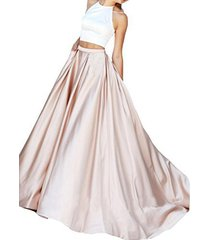 fanmu halter beading two piece mermaid prom dresses formal evening gowns cham...