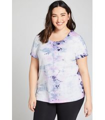 lane bryant women's livi french terry top - tie-dye 18/20 radiant pink