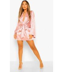 petite satijnen luipaardprint jacquard mini jurk met strik, nude