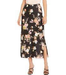 vince camuto floral-print side-slit maxi skirt