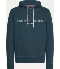 tommy hilfiger men's big and tall organic cotton logo hoodie mystic lake - xxxl
