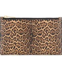 saint laurent leopard print clutch - brown