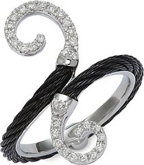 18k white gold, blacktone stainless steel cable & diamond ring