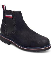 corporate elastic suede boot stövletter chelsea boot blå tommy hilfiger