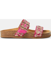 sandals cork sole embroidered straps - red - 41