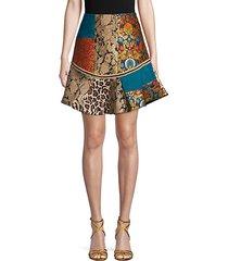 eriko patchwork flounce-hem skirt