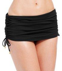 calvin klein side-tie adjustable ruched swim skirt women's swimsuit