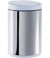 lixeira inox press com tampa branca 4l 3050/202 - brinox - brinox