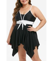 skirted handkerchief bowknot contrast piping plus size tankini swimsuit