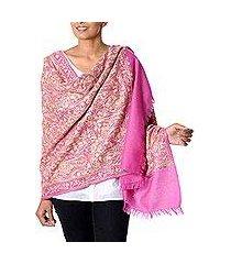wool shawl, 'poppy extravaganza' (india)