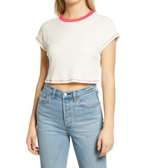 women's all in favor contrast detail thermal knit crop t-shirt, size medium - ivory