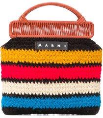 marni market striped knit tote bag - black