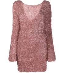 antonella rizza textured v-back jumper dress - pink
