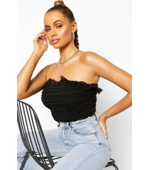 longline mesh corset top, black