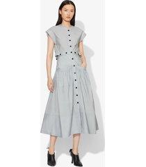 proenza schouler short sleeve buttoned cotton dress light blue 6