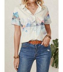 camicetta casual da donna con bottoni a maniche corte con risvolto stampato paesaggio