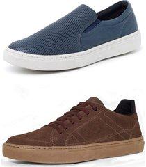 kit 2 sapatenis sandalo soft marinho basic marrom