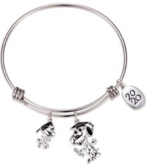 peanuts graduation adjustable bangle bracelet in stainless steel for unwritten silver plated charms