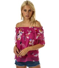 vero moda womens frida off shoulder top size 6 in pink