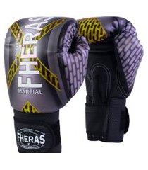 luva boxe muay thai fheras new top iron amarelo 14 oz .