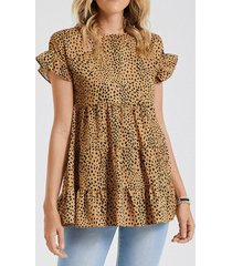 camicetta o-collo con stampa leopardata a maniche corte con volant per donna