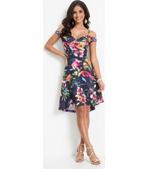 cold shoulder jurk met bloemenprint