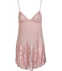 blumarine short pink dress with petals embroidery