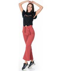 pantalon rosa bota campana con cinturon y cremallera lateral