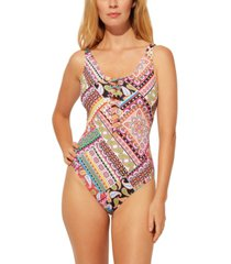 bleu by rod beattie lace-down printed one-piece swimsuit women's swimsuit
