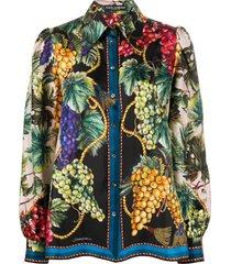 dolce & gabbana autumn print buttoned shirt - black