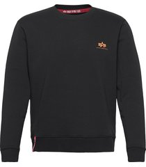 basic sweater small logo neon print stickad tröja m. rund krage svart alpha industries