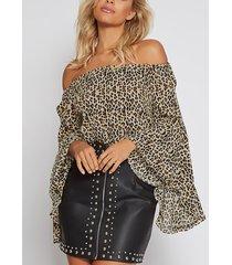 leopard print elastics off-the-shoulder bell sleeves top