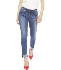 jeans wados roll up azul - calce ajustado