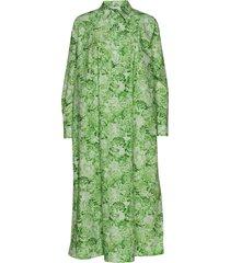 printed cotton poplin jurk knielengte groen ganni
