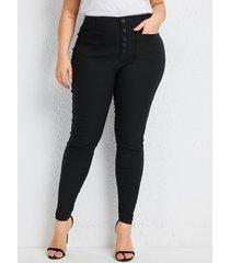 pantalones de diseño de bolsillo con diseño de botones negros de talla grande
