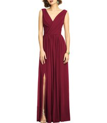 dessy collection surplice ruched chiffon gown, size 0 in burgundy at nordstrom