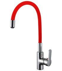 misturador monocomando para cozinha de mesa bica flexível cni1003 vermelho e cromado