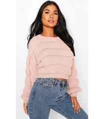petite bubble knit sweater, blush